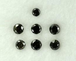 0.20 Cts Natural Black Diamond Round 7 Pcs Africa
