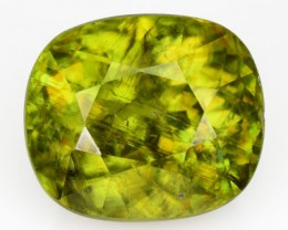 6.61 Cts Natural Sphene Olive Green Cushion Russia
