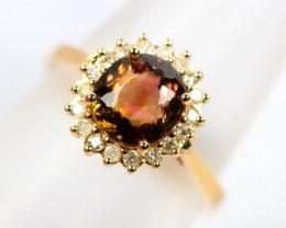 Lot 01 ~ 2.01Ct Watermelon Tourmaline 14K Gold Diamond Ring Sz53