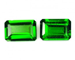 1.25 Cts Natural Chrome Diopside Forest Green 2Pcs Octagon Russia