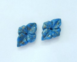 Free Shipping ,New Arrival !!! Natural Lapis Lazuli Handcarved Flower Earri