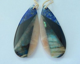 Natural Lapis Lazuli,Obsidian,Labradorite,Sunstone Intarsia Teardrop Earrin
