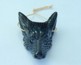 Natural Obsidian Carved Wolf Head Necklace Pendant Bead(17092017)