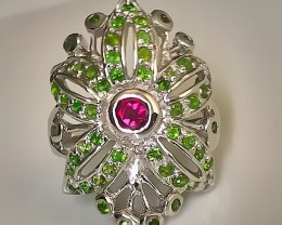 Incredible CHROME DIOPSIDE RHODOLITE GARNET .925 Sterling Silver Ring No Re