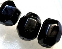 130CTS  BLACK AGATE BEADS PARCEL 3PCS CG-2317