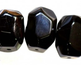 143CTS  BLACK AGATE BEADS PARCEL 3PCS CG-2319