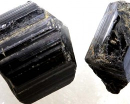 60CTS TOURMALINE BLACK NATURAL ROUGH 2PCS RG-2414