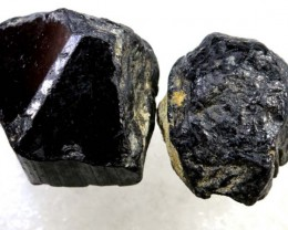 70CTS TOURMALINE BLACK NATURAL ROUGH 2PCS RG-2415