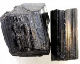 80CTS TOURMALINE BLACK NATURAL ROUGH 2PCS RG-2418