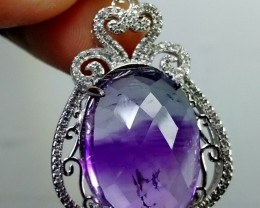 72 CTsNatural - Unheated Blue Amethyst  Selver Pendant