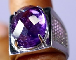 61 ct Natural - Unheated Amethyst Gemstone Selver Ring