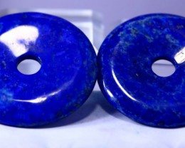 413CT Natural lapis  lazuli Carvid donut Pair Special Shape