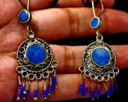 55 CT Natural lapis  lazuli Earrings Pair Special Shape
