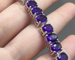 Fantastic Nat 108.5tcw. Top Intense Purple Amethyst Bracelet Untreated
