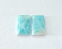 High Quality Larimar Rectangular Cabochon Pair,Fashion Semiprecious Gemston