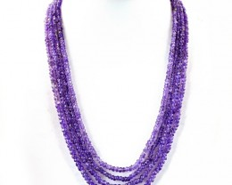 Genuine 213.50.00 Cts 4 line Purple Amethyst  Beads Necklace