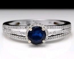 Brand New $4700 1.35ct Nat Blu Sapphire & Diamond 14K Sol Wht Gold Ring