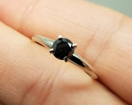 Dazzling $1750 Nat 0.5ct AAA 14K Sol Wht Gold Black Diamond Ring Irradiated