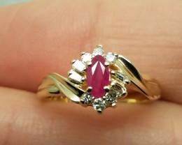 Marvelous $1675 Nat 0.80ct Ruby&Diamond 10K Sol Yllw Gold Ring
