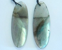42CT Natural Labradorite Oval Earrings For Women(17092507)