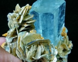 See Vdo~945 CT~Terminated~Gemmy~Undamage Sky Blue Aquamarine Bunch Spray Sp