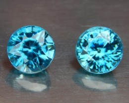 5.00cts, Blue Zircon Pair, VVS Eye Clean, Calibrated