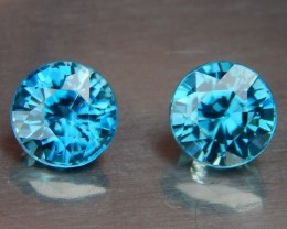 5.11cts, Blue Zircon Pair, VVS Eye Clean, Calibrated