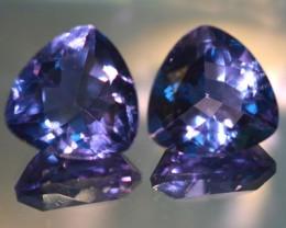 34.41 Cts Natural Color Change Fluorite Trillion Cut 16 mm Pair
