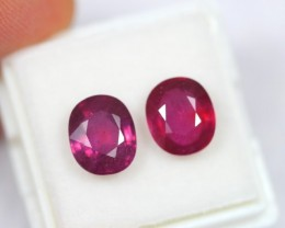 NR Lot 02 ~ 6.89Ct Natural Blood Red Madagascar Ruby Pair