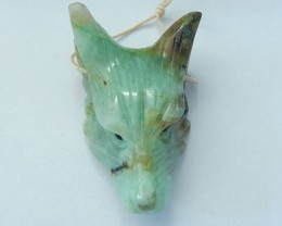 63.5ct Natural Chrysocolla Handcarved Wolf Head Necklace Pendant,Spirital A