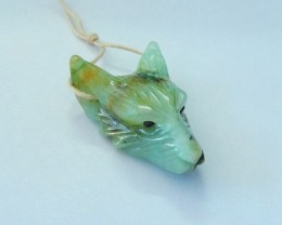 26CT Natural Chrysocolla Handcarved Wolf Head Necklace Pendant (17092704)