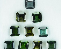 10.36 Cts Natural Blue Green Tourmaline 6 mm Octagon Calibrated Parcel