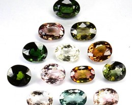 28.90 Cts Natural Multi Color Tourmaline Oval 12 Pcs Parcel
