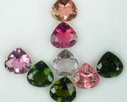 8.10 Cts Natural Multi Tourmaline 7 mm Heart 8 Pcs Parcel