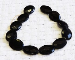 Faceted Black agate strand beads GOGO 1770