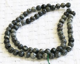 two strands 12 mm Web Jasper strand beads GOGO 1779