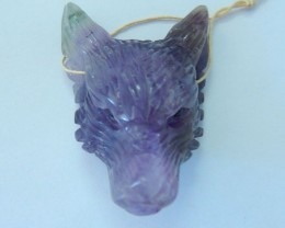 48x34x21mm Natural Amethyst Handcarved Wolf Head Necklace Pendant ,Spirital