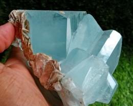 See Vdo~938 Gram Natural~Unheated~Terminated~ Blue Aquamarine Crystal Spec