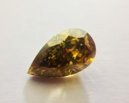 Natural Fancy Orangy Brown VVS1 Pear shape 2.01 Ct. Diamond