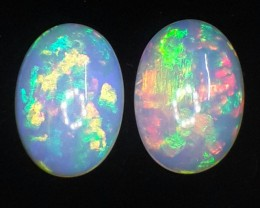 22.79 CTS-TOP SUPER RAINBOW ELECTRIC ETHIOPIAN FIRE WELO OPAL PAIR