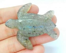 New Design!70ct Natural Labradorite Handcarved Sea Turtle Lovely Animal Nec