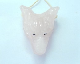 60.5ct Natural Rose Quartz Handcarved Wolf  Head Necklace Pendant Bead,Spir