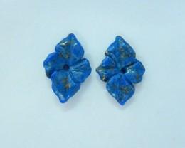 8.5ct Natural Lapis Lazuli Carved Flower Earrings For Women(17092911)