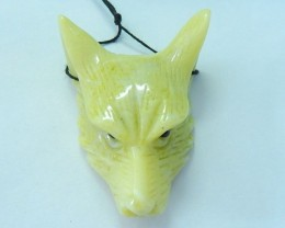 47x36x15mm Natural Yellow Serpentine Handcarved Wolf Head Necklace Pendant