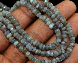 Genuine 239.50 Cts 3 Line Labradorite Round Cut Beads Necklace