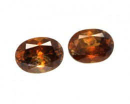 0.49cts Natural Australian Brownish/Red Zircon Matching Ovals