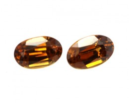 0.76cts Natural Australian Brownish/Red Zircon Matching Ovals