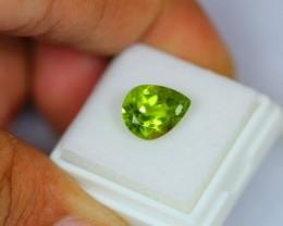 3.39Ct Natural Green Peridot Pear Cut