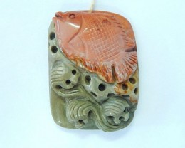 New Design!!! Natural Ocean Jasper Handcarved Fish Necklace Pendant, Lovely