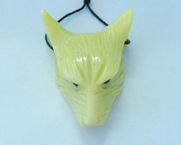 69ct Natural Yellow Serpentine Handcarved Wolf Head Necklace Pendant Bead(1